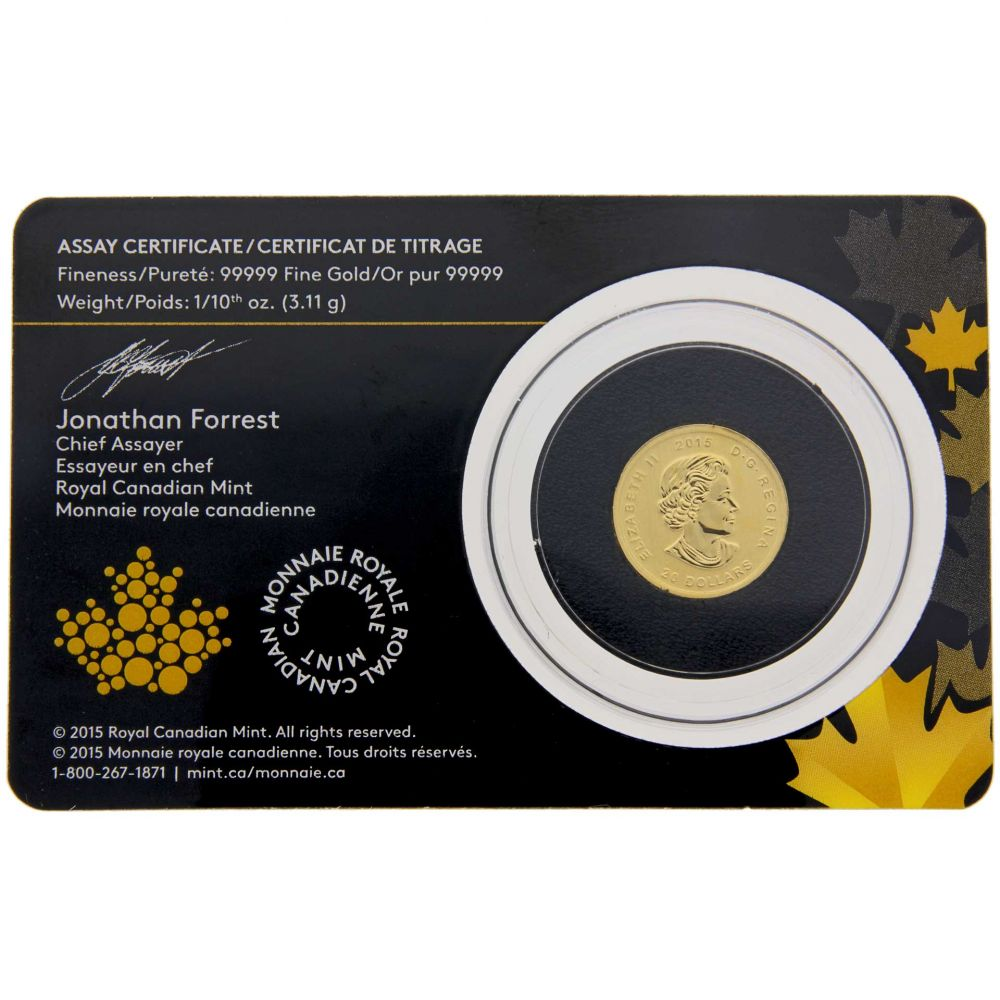 2015 Canada 1 10 Oz Gold Howling Wolf 99999 Bu In Assay